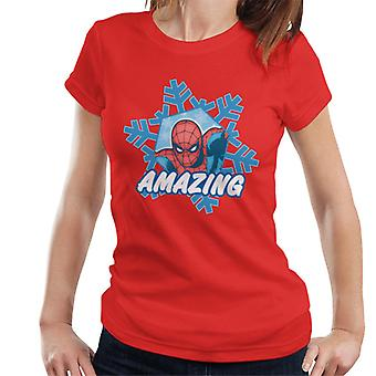 Marvel Christmas The Amazing Spider Man In Snowflake Women's T-Shirt