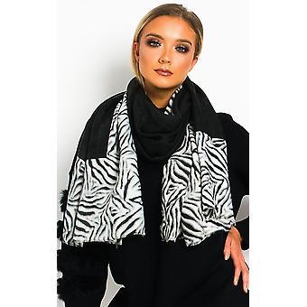 IKRUSH النساء Tess Zebra طباعة وشاح اثنين من لهجة