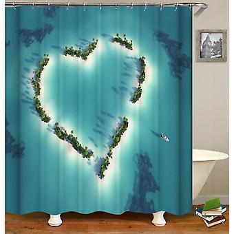 Heart Shape Ocean's Sky View Shower Curtain