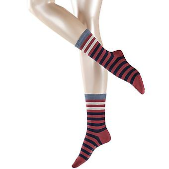 Esprit Multi Stripe Socks - Garnet Red