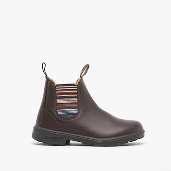 Blundstone 1413 Kids Leather Chelsea Boots Brown Stripes