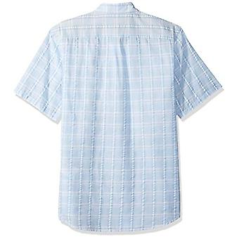 Dockers Men's Short Sleeve Button Down Comfort FLEX Shirt, Blue, Size Medium