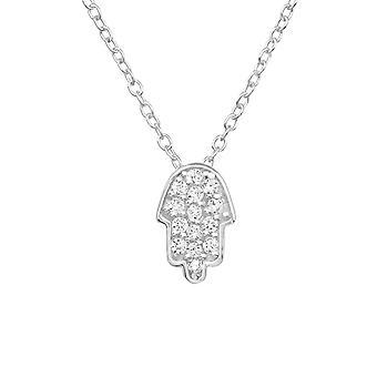 ハムサ手 - 925 の純銀製の宝石ネックレス - W23796x