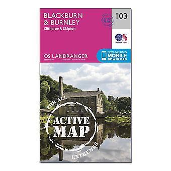 New OS Landranger Active 103 Blackburn & Burnley Clitheroe & Skipton Map Orange