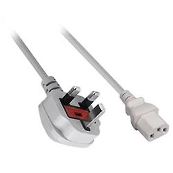 Mains power cable cord c13 uk kettle lead for sony ps3, ps4 pro & xbox one original - 2m white