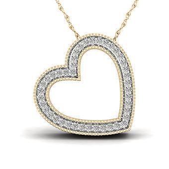 Igi certified solid 10k yellow gold 0.12ct diamond bold heart pendant necklace