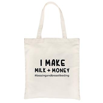Make Milk Money Natural Heavy Cotton Canvas Bag For Best Mom Gift