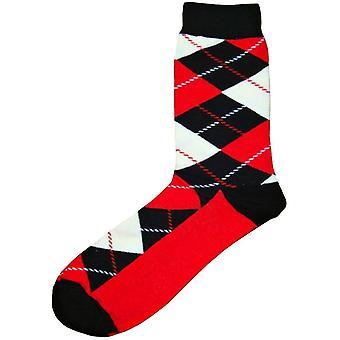Bassin and Brown Argyle Socks - Black/Red/White