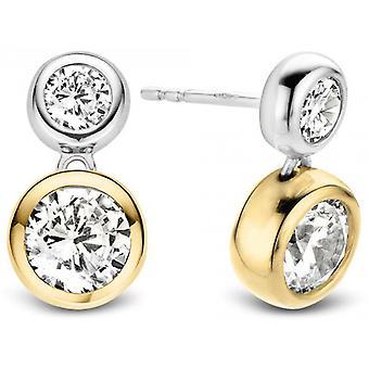 Ti Sento 7746ZY Earrings - Silver Earrings Serti Clos Rond Dor and Round Pav Women