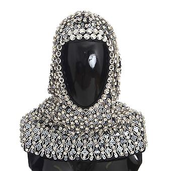 Dolce & Gabbana Gray Wool Crystal Sequined Hood Scarf Hat