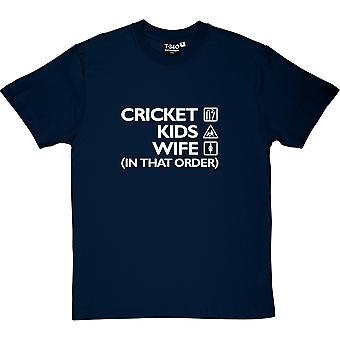 Cricket, Kids, Wife (In That Order) Navy Blue Men's T-Shirt