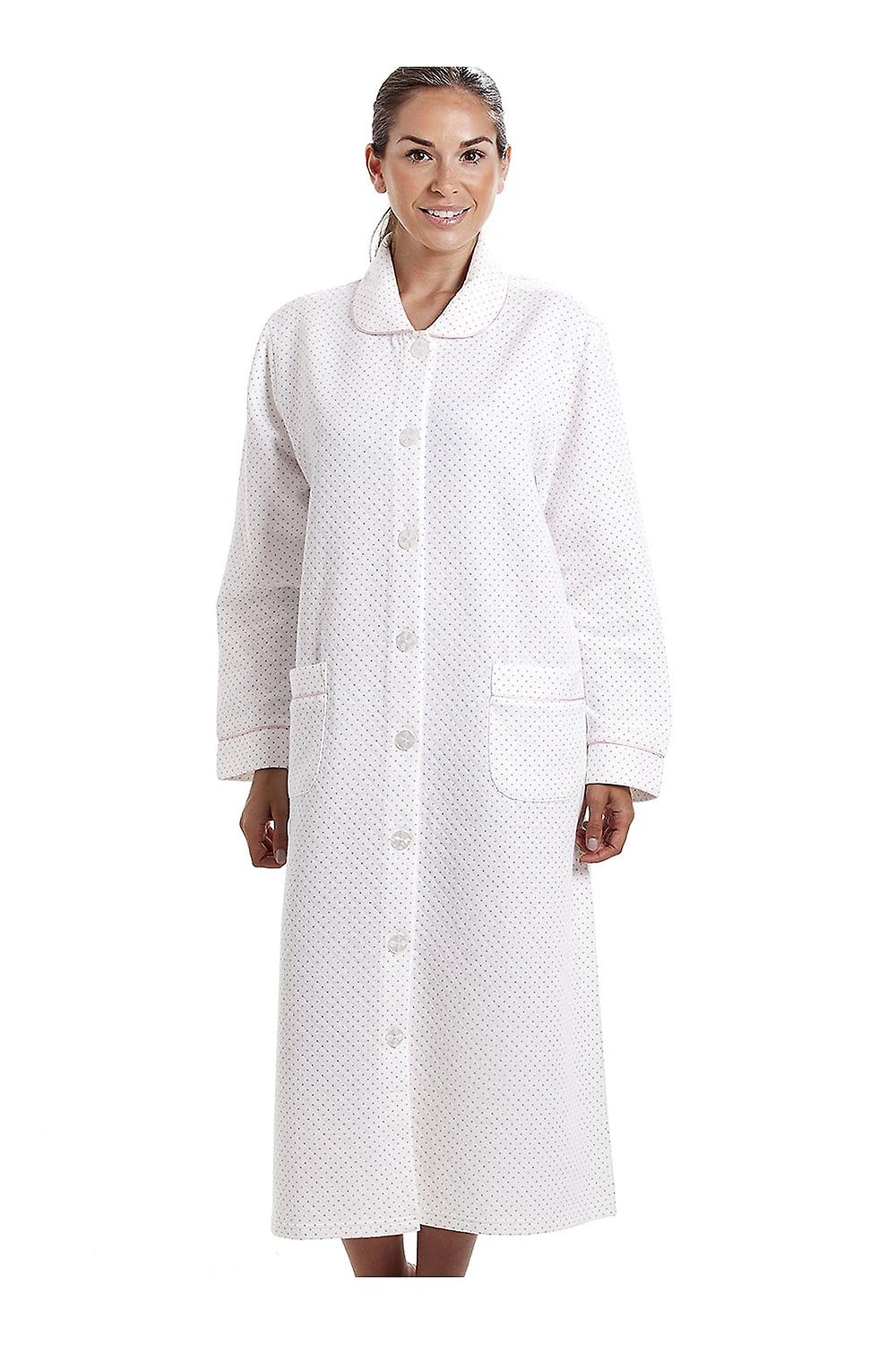 Camille Womens White House Coat With A Pink Dot Print