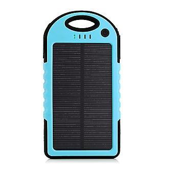 Υλικά πιστοποιημένα® εξωτερικό 5000 mAh ηλιακής φόρτισης PowerBank ηλιακό φορτιστή μπαταρίας έκτακτης ανάγκης μπλε
