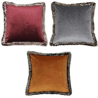 Riva Home Kiruna Faux Fur Edged Velvet Style Square Cushion Cover