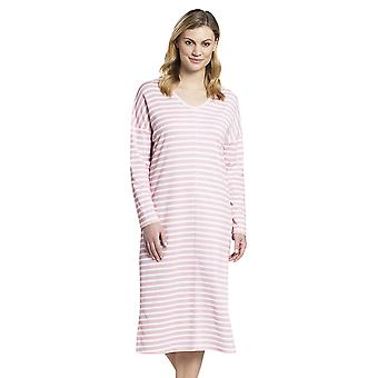 Rösch 1193557-12606 Women's Smart Casual Peach Pink Striped Cotton Nightdress