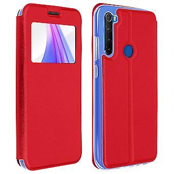 Vindue flip sag, flip tegnebog sag med stå for Xiaomi Redmi Bemærk 8T - Rød