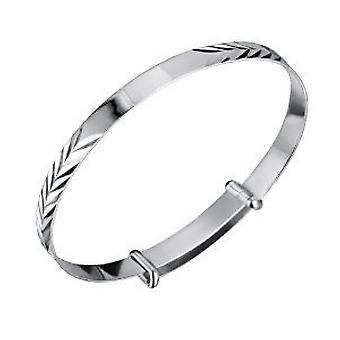 Jo For Girls Sterling Silver Feather Design ID Expanding Baby Bangle Bracelet