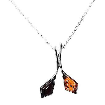 TOC Sterling Silver Double Golf Club Amber Pendant on 18 Inch Chain