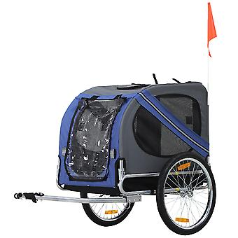 Pawhut Folding Pet Trailer Dog Carrier Bicycle Steel Frame with Suspension - Blue & Grey