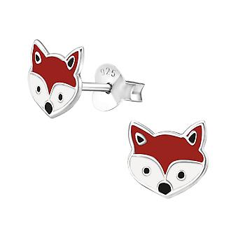Fox - 925 Sterling Silver Colourful Ear Studs - W18660x