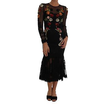 Dolce & Gabbana Black Floral Appliqué A-Line Dress DR1295-1