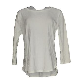 Ruby Rd Women's Top Regular 3/4 Sleeve Cotton White