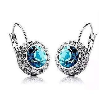 Aqua niebieski na białym złotym bezelu zestaw kryształów iobi kolczyki dla kobiety