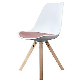 Fusion Living Eiffel inspiré blanc et blush Pink Dining Chair with Square Pyramid Light Wood Legs