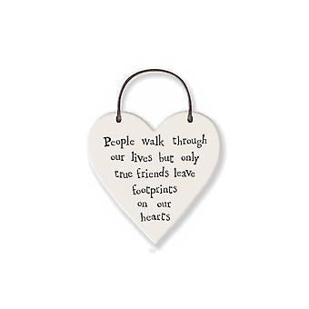 Friends Leave Footprints on Our Hearts - Mini Hanging Heart - Cracker Filler Gift