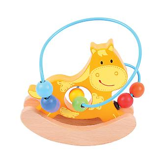 Bigjigs Toys Wooden Mini Horse Push Along Bead Frame Sensory