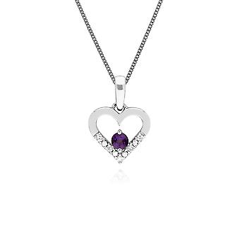 Classic Round Amethyst & Diamond Love Heart Shaped Pendant Necklace in 9ct White Gold 162P0219049