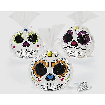 12 Day of the Dead Cellophane Party Bags for Halloween Parties | Kids Party Loot Bags