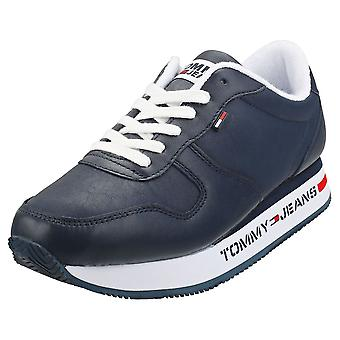 Tommy Jeans Flatform Runner Sneaker Womens Casual Trainers in Navy