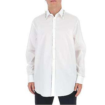 Valentino Uv3abf104ww001 Männer's weißes Baumwollhemd