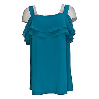 Susan Graver Women's Plus Top Premier Knit Off The Shoulder Blue A289396