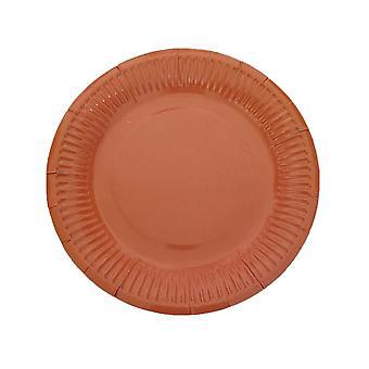10PCS 7 Inch Solid Color Circle Tray Orange