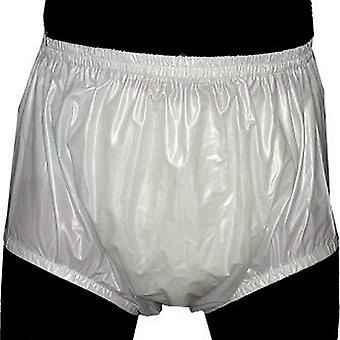White S - 2pcs Pull On Plastic Pants ,underwear Men , Boxers Pvc Shortss