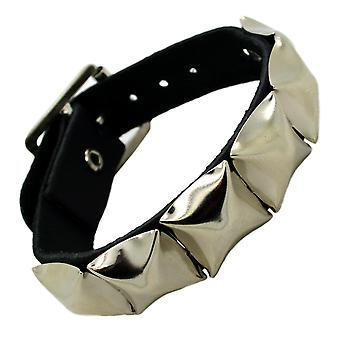 Bullet 69 1 Row Pyramid Studded Leather Wristband Silver