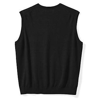 Essentials Men's Big & Tall V-Neck Sweater Vest, Black, 3X Tall