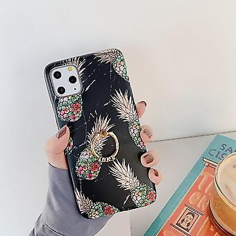 Zwart marmeren shell iPhone11 + ananas + ring