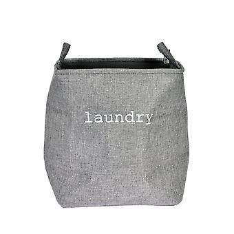 Tvättkorg Påse grå textil