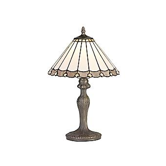 Luminosa Lighting - 1 Light Curved Table Lamp E27 With 30cm Tiffany Shade, Grey, Crystal, Aged Antique Brass