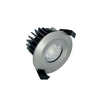 LED IP65 Fire Rated Downlight Recessed Spotlight 6W 3000K 430lm Dimmable bezel Satin Nickel IP65