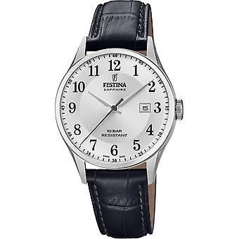 Festina Swiss F20007-1 Men's Swiss Made Black Leather Wristwatch