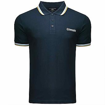 Lambretta Triple Tippet Polo - Navy/White/CoolBlue/Biscuit