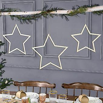 Wooden Hanging Stars Christmas Decorations Set of 3