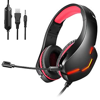 Yulass Stereo Gaming Headphones for Playstation 4 and 5 / Xbox / PC - Headset Headphones with Microphone Red