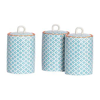 Nicola Spring 3pc Hand-Printed Tea Coffee Sugar Canister Set - Porcelana Kitchen Storage Canisters with Seal - Blue - 1L
