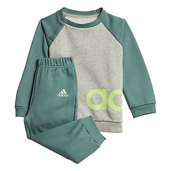 adidas Linear Fleece Infant Kids Crew Jogger Tracksuit Suit Set Grey/Green