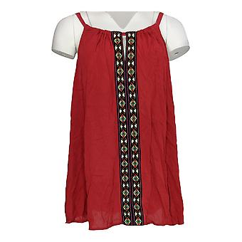 Breathless Women's Plus Top Embroidered Tank Brick Red